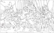 Fineliner Zeichnung: Reiterschlacht Niccolo (nach Paolo Uccello)
