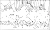 Fineliner Zeichnung: Reiterschlacht Cotignola 2 (nach Paolo Uccello)