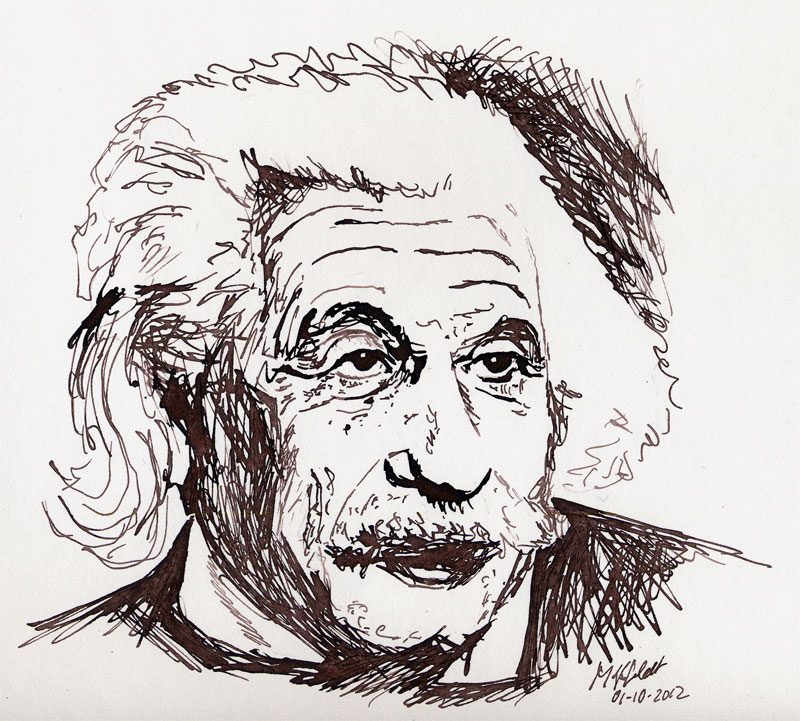 Zeichnung von Albert Einstein