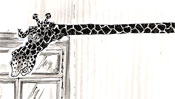 Giraffe als Jagd Trophäe im Wohnzimmer