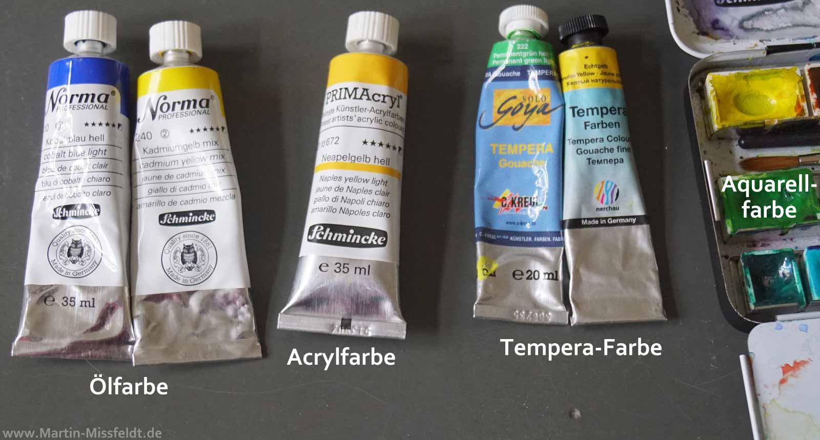 Vergleich Zwischen Olfarbe Aquarell Gouache Und Acrylfarbe