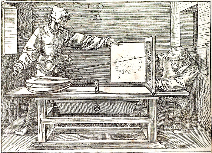 The draughtsman of the lute by Albrecht Dürer