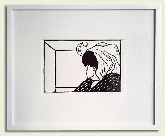 An den Rahmen denken, wenn man einen Linolschnitt online kauft: Linoldruck im Glasrahmen (mit Passsepartout)