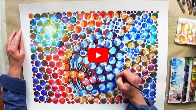 Der Anglerfisch (Aquarellmalerei, Farbsehtest)