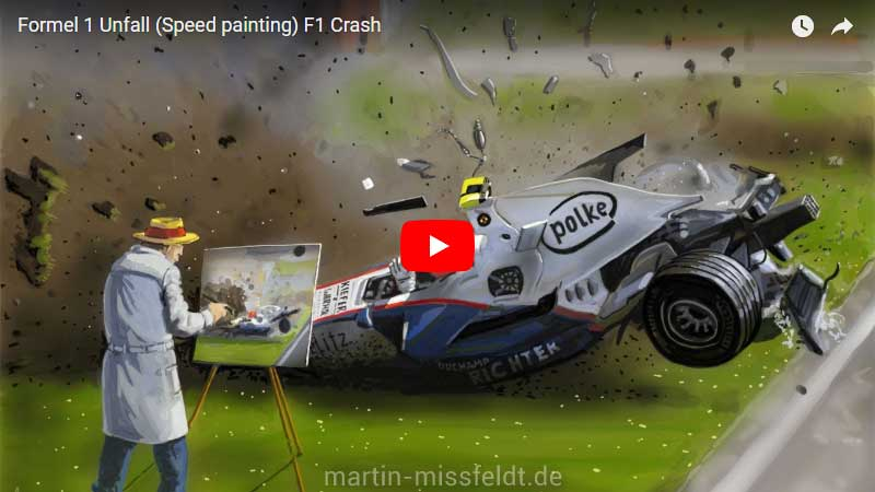 Formula 1 car crash Speedpainting