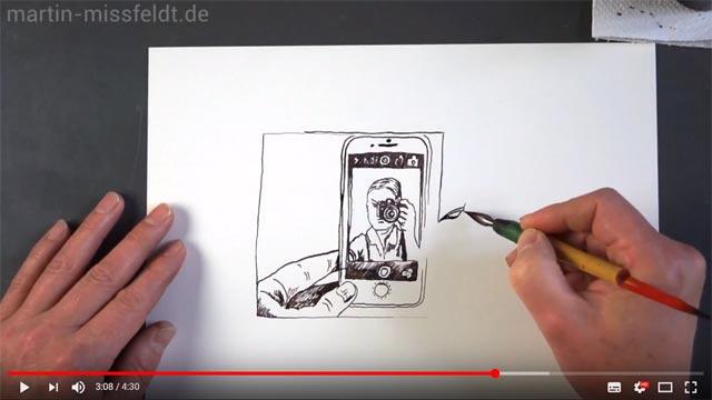 Zeichnung: Handy mit Foto einer Kamera