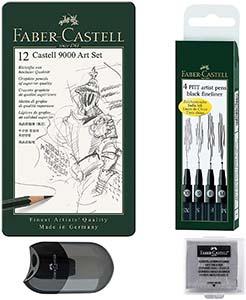 Zeichner-Set Faber-Castell: 12 Bleistifte, 4er Tuschestifte, Knetradierer, Anspitzer